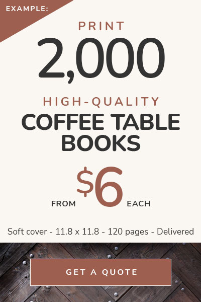 Coffee Table Book Printing Costs — 2,000 books from $5 each — Delivered!